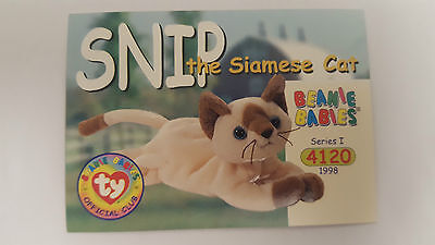 TY Beanie Baby collector card Snip the Siamese Cat series 1