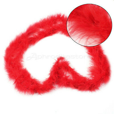 2M Fluffy Red Feather Boa Strip Fancy Dress Up Party Wedding Decor Xmas Gift