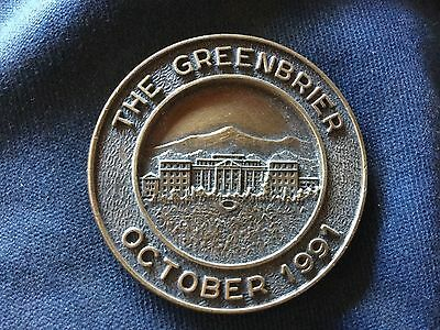 "The GREENBRIER  medallion October 1991 2 side coin as seen in photos 1.5"" wide"