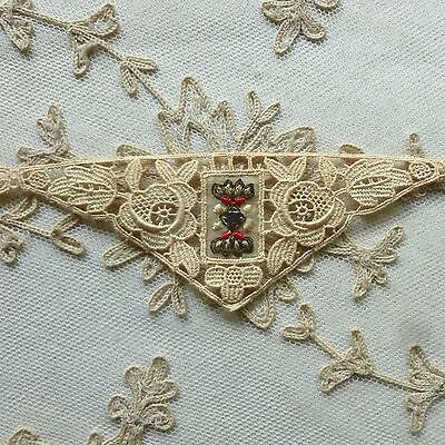 Three Antique Hand Embroidered/Lace Applique Length