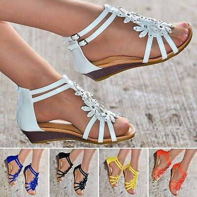 Womens Ladies Summer Sandals Low Heel Wedge Flower Shoes Flat Strappy size 20372