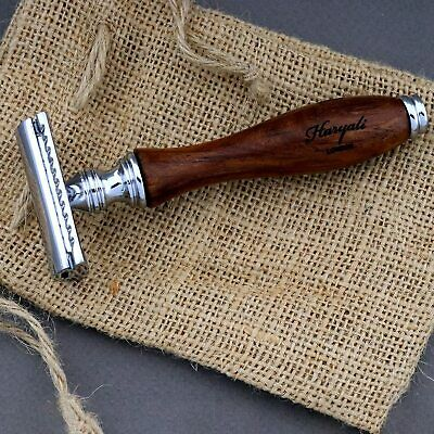 Men's Shaving Razor In Pure Rose Wood Handle With De Safety Razor Head. For Him