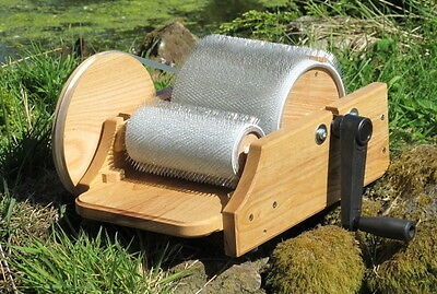 Compact Classic Drum Carder in Solid Ash for spinning, felting and weaving