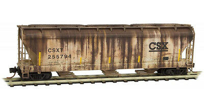CSX 3-Bay Covered Hopper Factory Weathered MTL#094 44 060 N-Scale