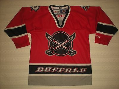 c52bd37f9 Vintage Buffalo Sabres Ccm Air-Knit Maska Nhl Jersey Youth Made In Canada