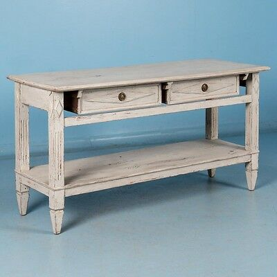 Antique 19th Century Swedish Gustavian Console Table with Light Gray Paint