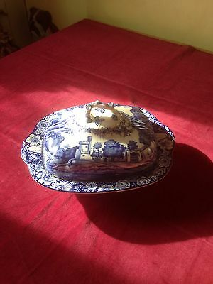 Vintage Blue And White Woods Ware Serving Tureen Castles