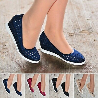 Ladies Womens Casual wedges Shoes Comfy Low Wedge Heel Slip On pumps size 30560