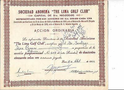 The Lima Golf Club---1956---Certificate