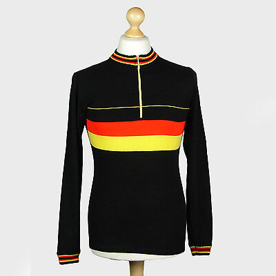 Retro Long-Sleeve Vintage Rotmoos Cycling Jersey Black / Red / Yellow Small / Xs