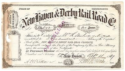 1887 New Haven & Derby Railroad Co, CT Stock Certificate #642 [1777.91]