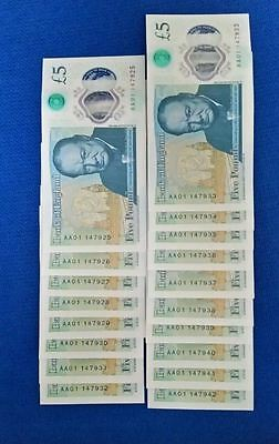 18 X 5 pound notes NEW UNCIRCULATED POLYMER AA01 CONSECUTIVE LOW SERIALS