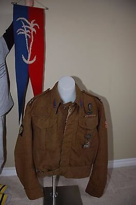 Polish WWII Battle Dress lot with pennon regimental badges,snuff box
