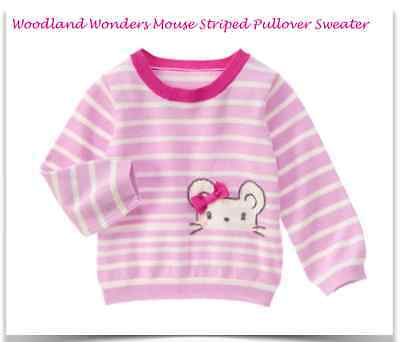 *new* Gymboree Little Girls Size 2T 3T 4T Woodland Wonders Mouse Striped Sweater
