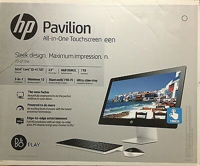*HP PAVILION 23-q113w All-in-One Desktop TouchScreen 1TB 6GB Core i3-4170T NEW*