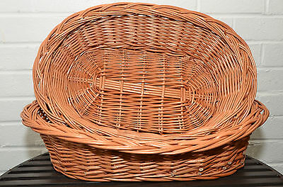 WICKER OVAL BED BASKET for DOG PUPPY CAT PET WILLOW HANDCRAFTED small medium