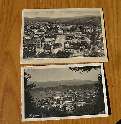 Lotto 2 Cartolina Slovenia Lubiana Panorama Viaggiate 1942 Subalpina Yy
