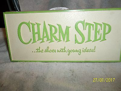 charm step shoes advertising sign VINTAGE PLASTIC SHOE STORE SIGN NICE NR
