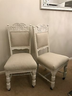 Pair of painted and recovered Edwardian dining chairs