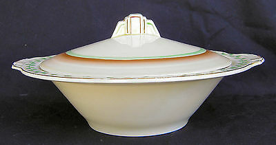 """Grindley Art Deco Covered 9"""" Server Tureen + Extra Bowl"""