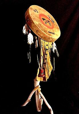 Ceremonial Drum, Native American Sacred Hand Drum, Finest in Tribal Display!