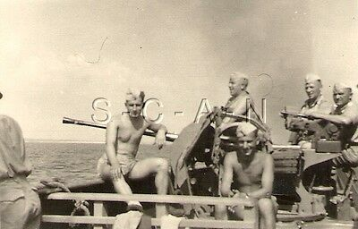 WWII German Luftwaffe DAK Large RP- AA Gun on Deck of Ship in Route to Africa