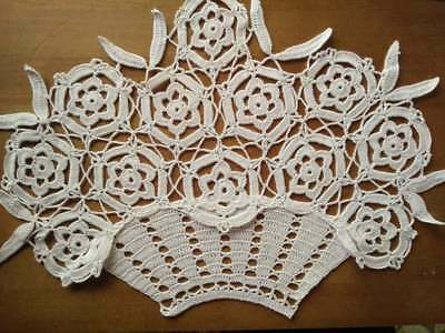 Vintage Charming Basket of White Flowers Hand Crochet Centrepiece - 3 available