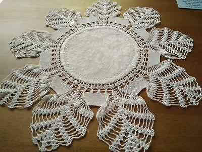 Intricate White Hand Crochet Doily ~ Damask centre & Fly stitch Hand embroidery