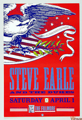 Steve Earl and the Dukes 1989 Apr 1 New Fillmore Poster F86