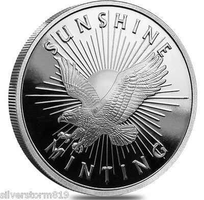 1 OZ  Troy SUNSHINE MINTING SILVER ROUND WITH VALID SECURITY FEATURE