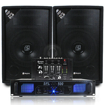 "Skytec 8"" PA Speakers + Amplifier + DJ Mixer  + Cables System 800W UK Stock"
