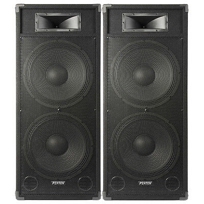 "Pair Dual 15"" Active Powered DJ Speakers System Skytec CSB215 3200W UK Stock"