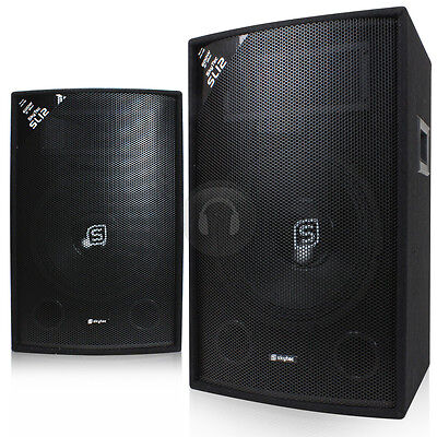 """Pair of Skytec 12"""" Inch Passive PA Speakers Sound System Package 1200W UK Stock"""
