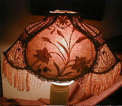 PRETTY Antique Victorian Lace & Linen Embroidered LAMP SHADE,Loop Fringe,Florals