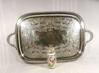 "LARGE Silver PLate 27"" x 16"" Serving Tray INTERNATIONAL Silver EXCELLENT COND."
