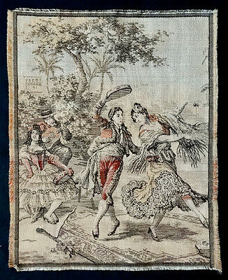 ANTIQUE Vintage DANCING COUPLE Woven BELGIAN TAPESTRY Wall Hanging