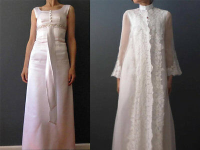 Vintage 60s 2 Piece White Wedding Empire Satin Sheer Lace Coat and Dress XXS