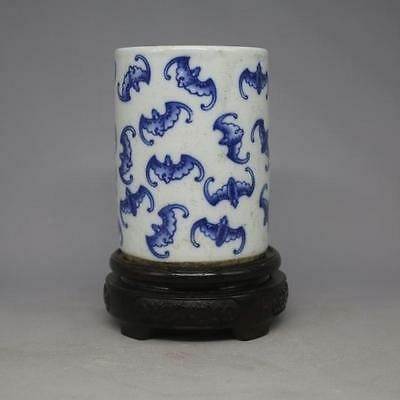 Chinese Old Marked Blue And White Bats Porcelain Pen Container Brush Pot