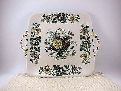 """Masons STRATHMORE GREEN Cake Cookie Snack Plate Tray 11"""" VTG Ironstone England"""
