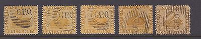 "Western Australia 1D Yellow Ochre Swans ""gpo"" Cancels Selection X5 Used  (Br21)"