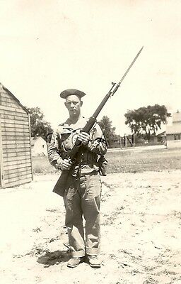 WWII Org Large Army RP- Soldier- Kit- Canteen- Fixed Bayo Knife- 1903A3 Rifle