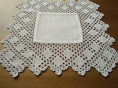 Gorgeous Vintage White Square Shaped Hand Crochet Doily with Damask centre