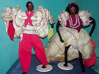 2 Vtg CARIBBEAN DANCER DOLLS DOLL Handmade CALYPSO West Indies SOUVENIR Figures