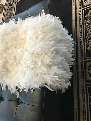 White Feather Bed Runner   Throw Rug.