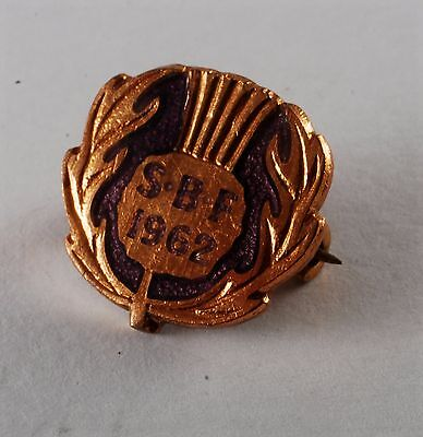 Rare Old Antique Bowling Federation Badge/Pin Scotland SBF 1962 Signed #27801