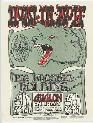 Family Dog 27 Handbill Howlin' Wolf  Big Brother & the Holding Co 1966 Sep 23
