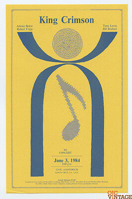 King Crimson 1984 Jun 3 Santa Cruz Civic Auditorium Handbill
