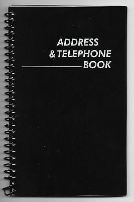 NEW! MEDIUM BLACK SPIRAL ADDRESS BOOK WITH TABBED PAGES - English