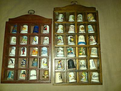 44 Assorted Thimbles Bone China + Metals + Case (Mixed Countries + Advertising)