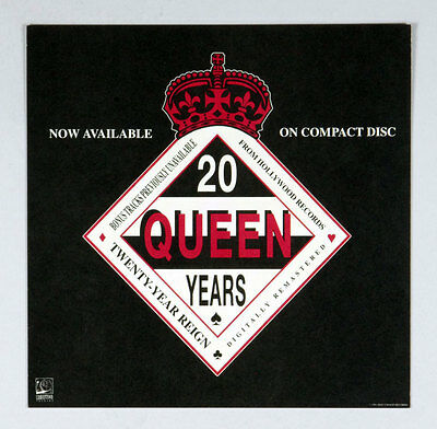 Queen 20th Anniversary 1991 Vintage 12x12 CD Album Promo Poster 2 sided